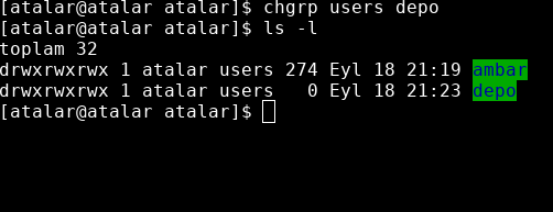 chgrp users kullanıcı grubunu değiştirmek